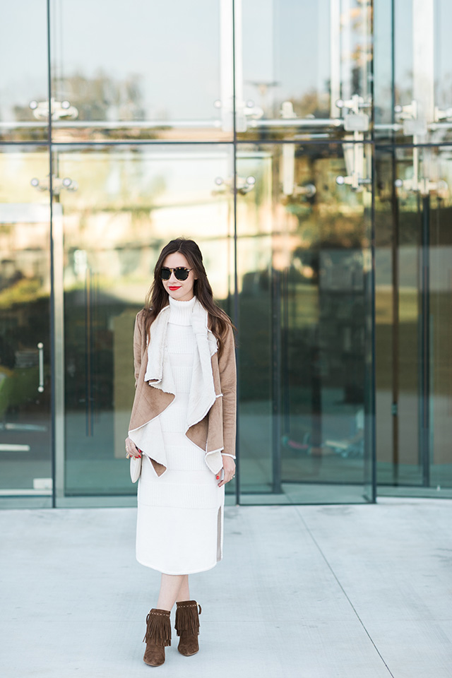 cream turtleneck dress with shearling jacket on M Loves M