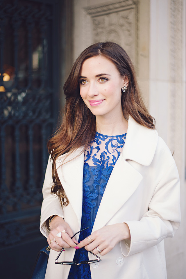 white coat with blue lace dress by M Loves M