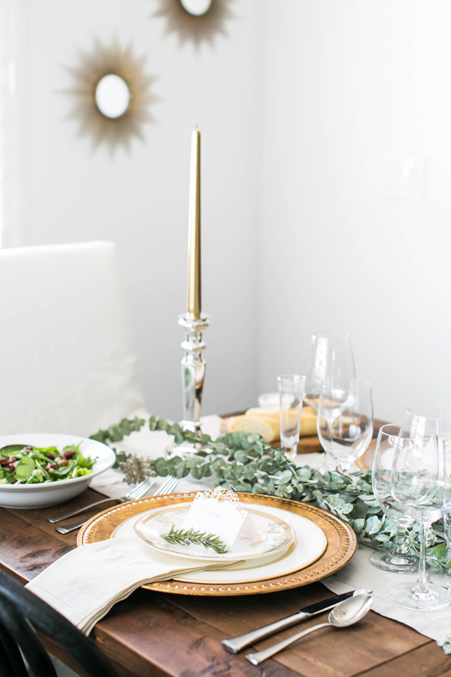 simple yet elegant holiday dinner party table M Loves M
