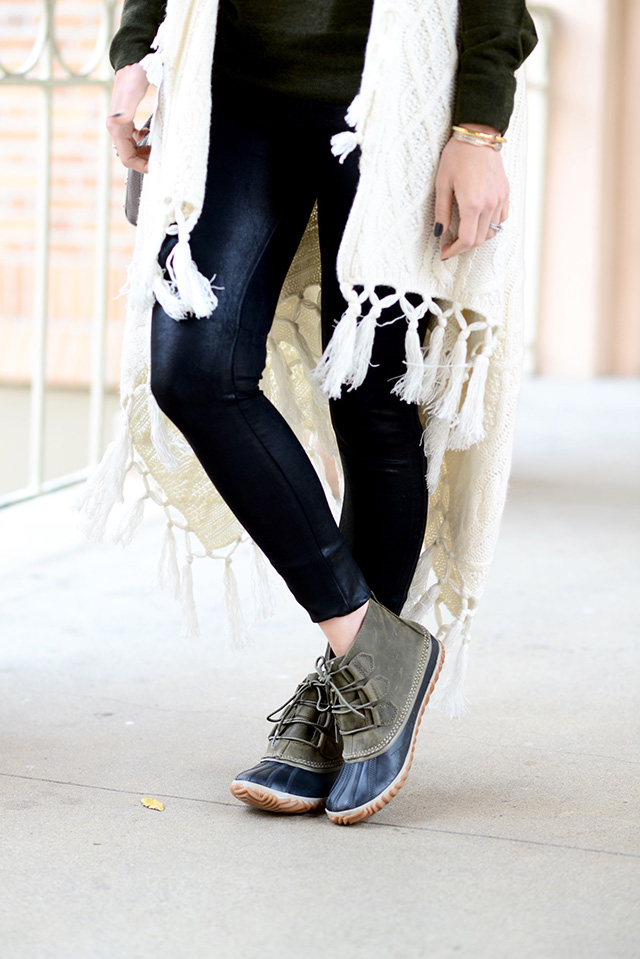 faux leather pants with Sorel boots M Loves M