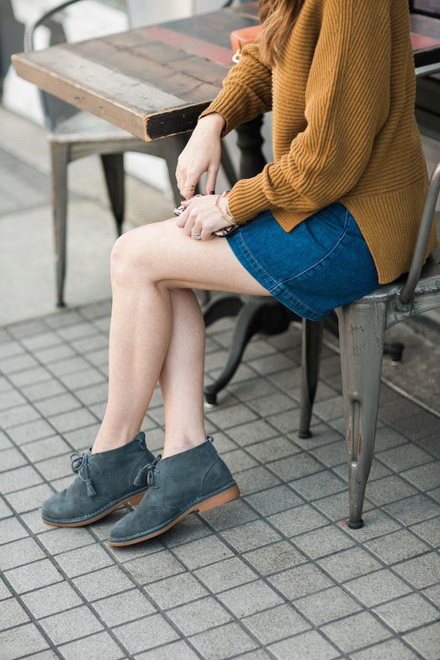 mustard sweater with denim mini skirt and desert boots by M Loves M