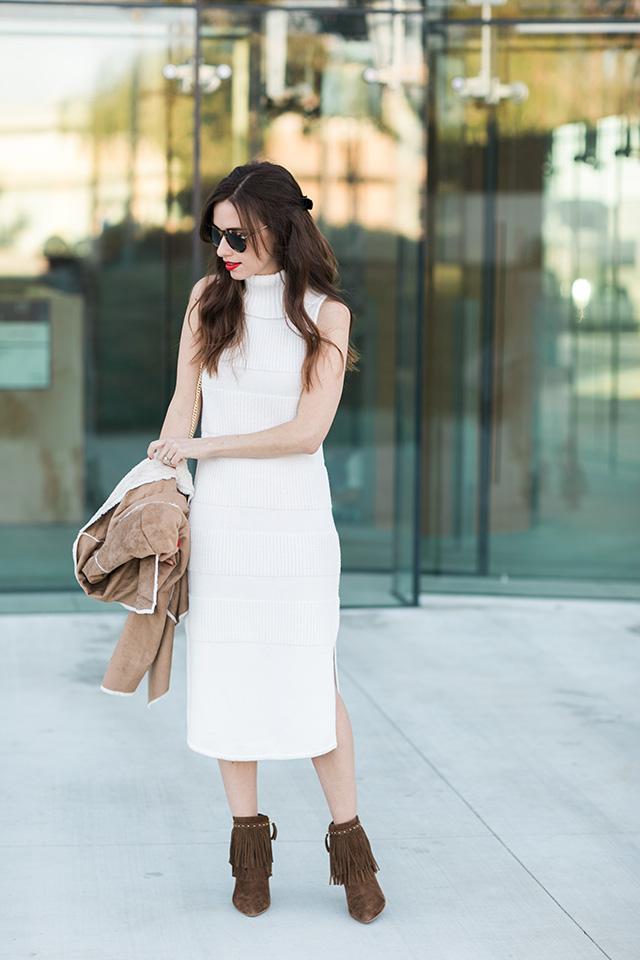 turtleneck dress with fringe booties M Loves M