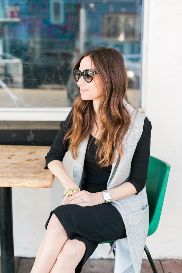 gray sleeveless vest with black dress M Loves M
