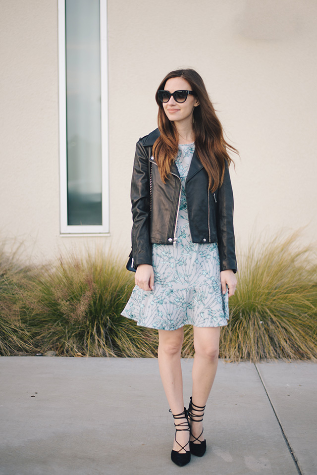 blue floral dress with black leather jacket. girly and edgy outfit inspiration by M Loves M