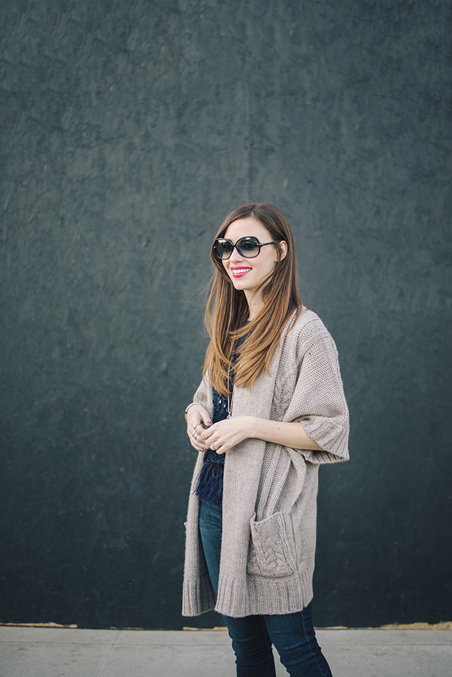 brown bobeau cardigan with jeans M Loves M