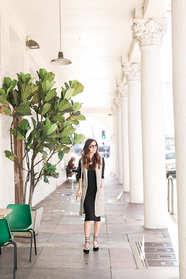 black long sleeve dress with gray vest M Loves M
