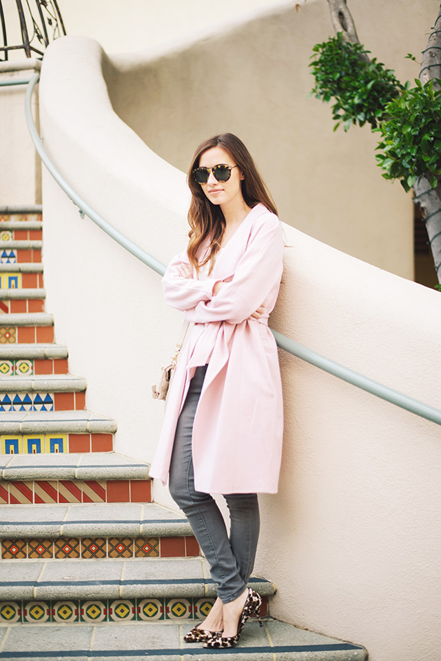pink wrap coat with gray jeans M Loves M