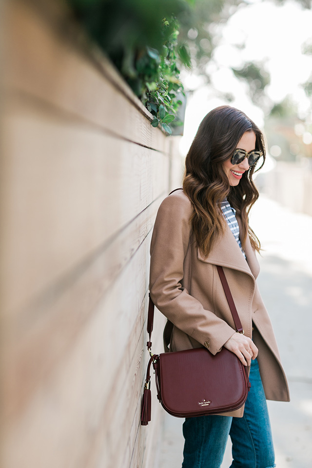 camel coat with wine-colored bag M Loves M