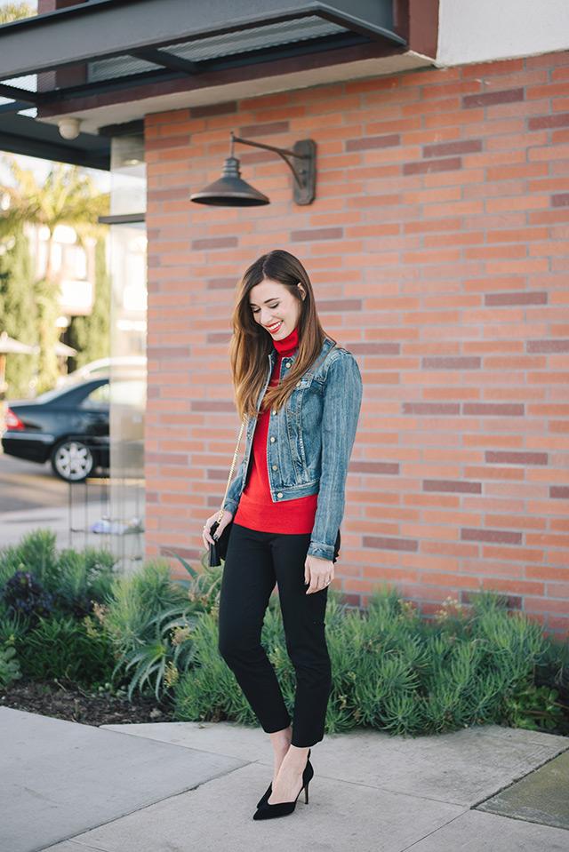jean jacket with red turtleneck M Loves M