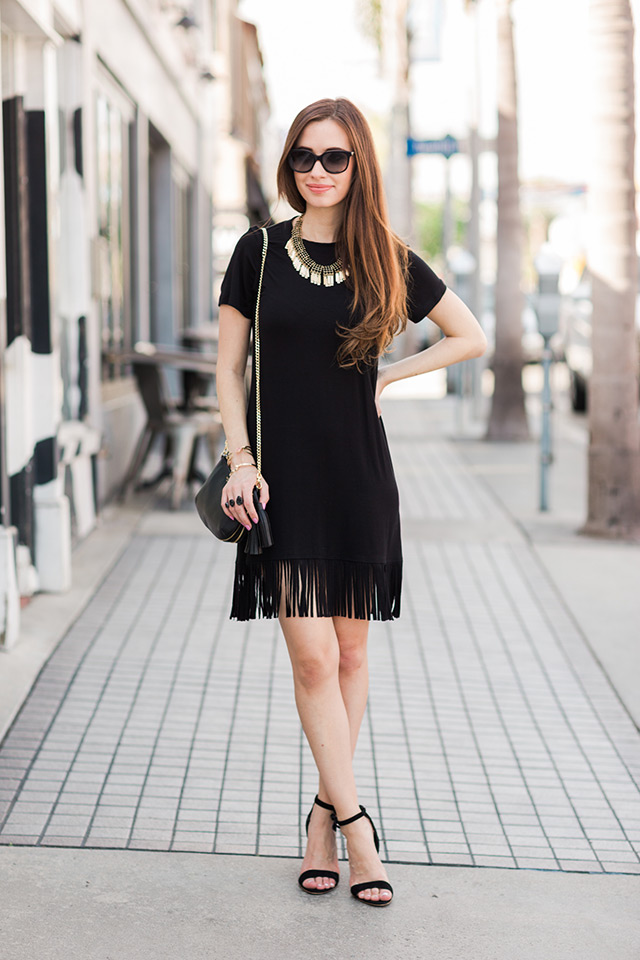 love this black t-shirt dress with fringe