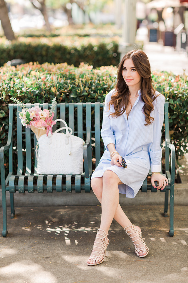 styling a preppy blue shirtdress on M Loves M. Cute outfit for spring!