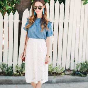 a blue and white spring outfit