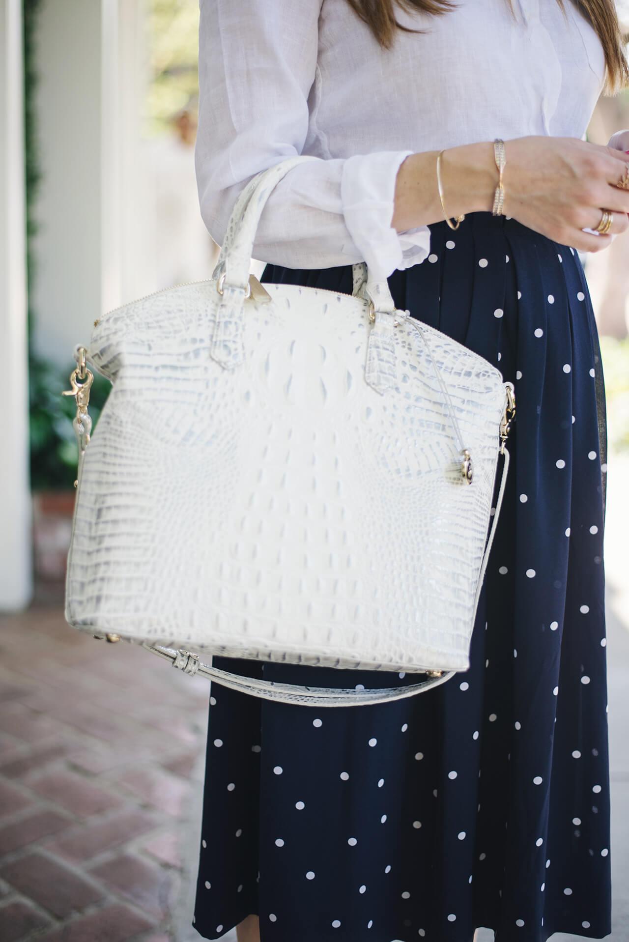 white textured brahmin bag M Loves M