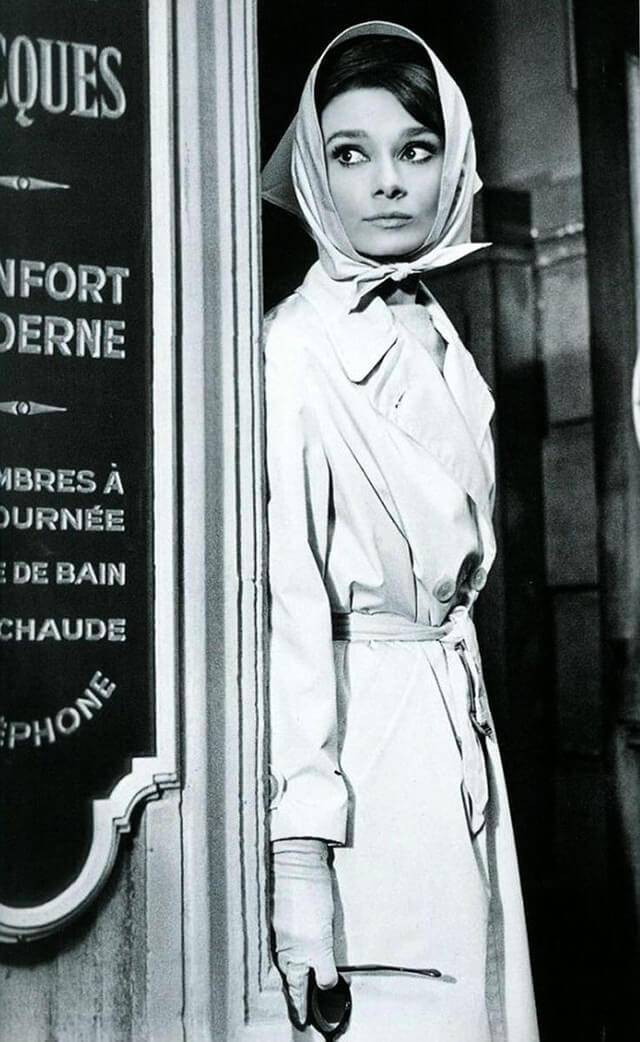 audrey hepburn in a classic trench coat