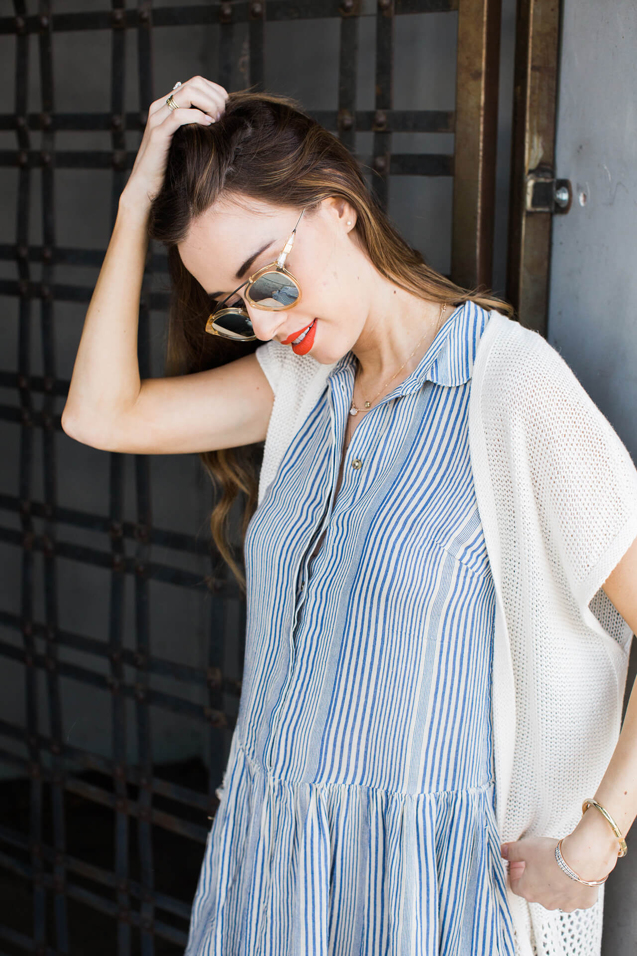blue and white striped shirtdress with cardigan