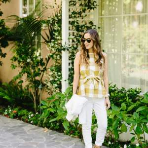 breaking out the white denim with a sleeveless gingham top with bow and white jeans