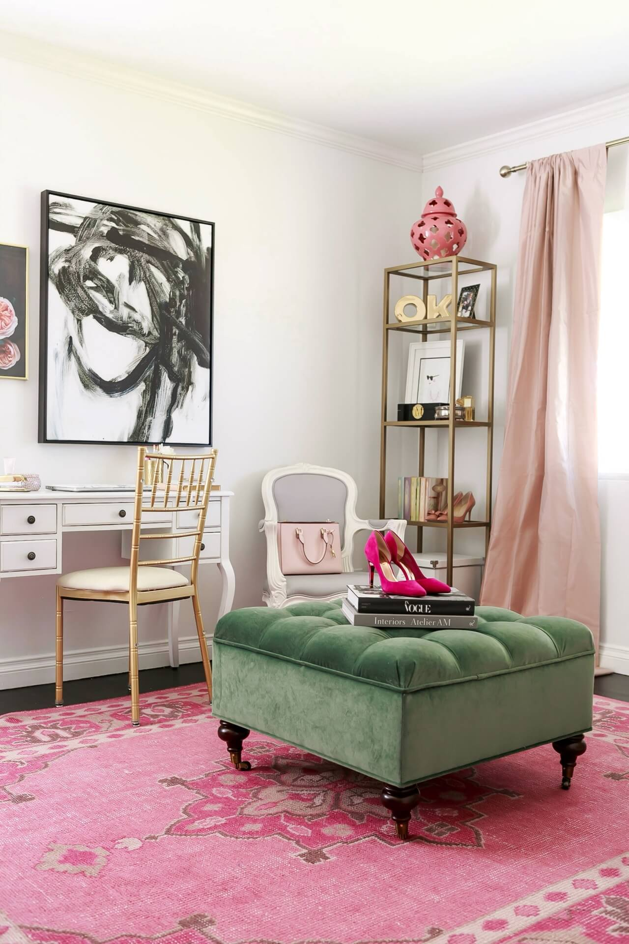 pink and green feminine home office design inspiration