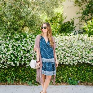 boho spring outfit with paisley dress