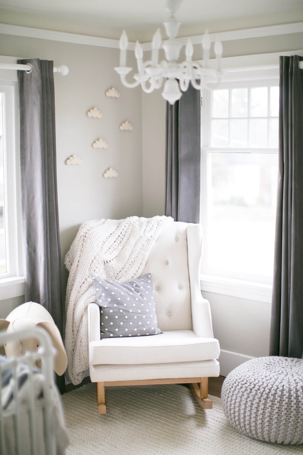 a classic and timeless nursery with gray and white colors
