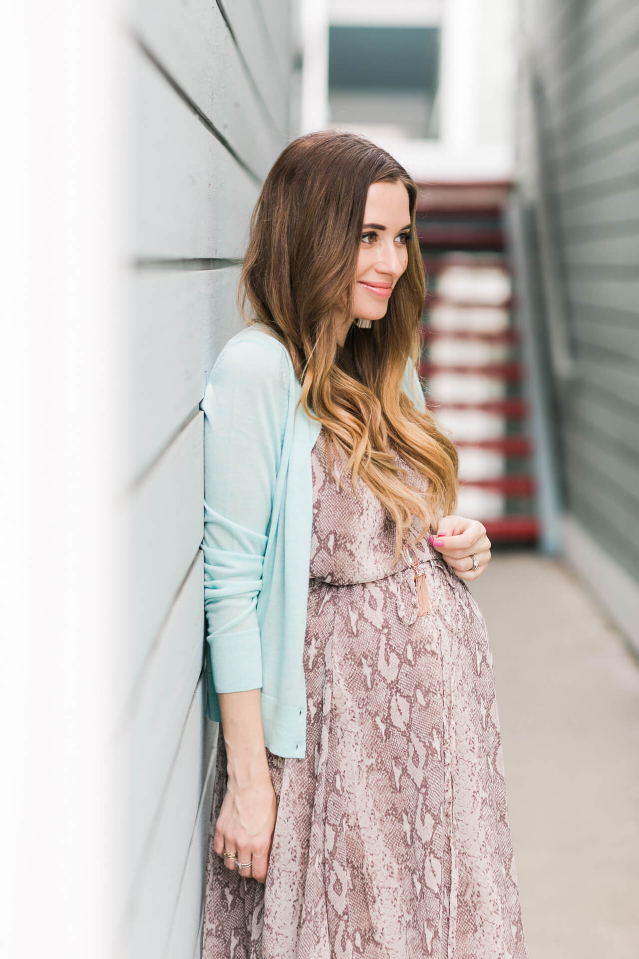 dressing the bump with an elastic waist dress
