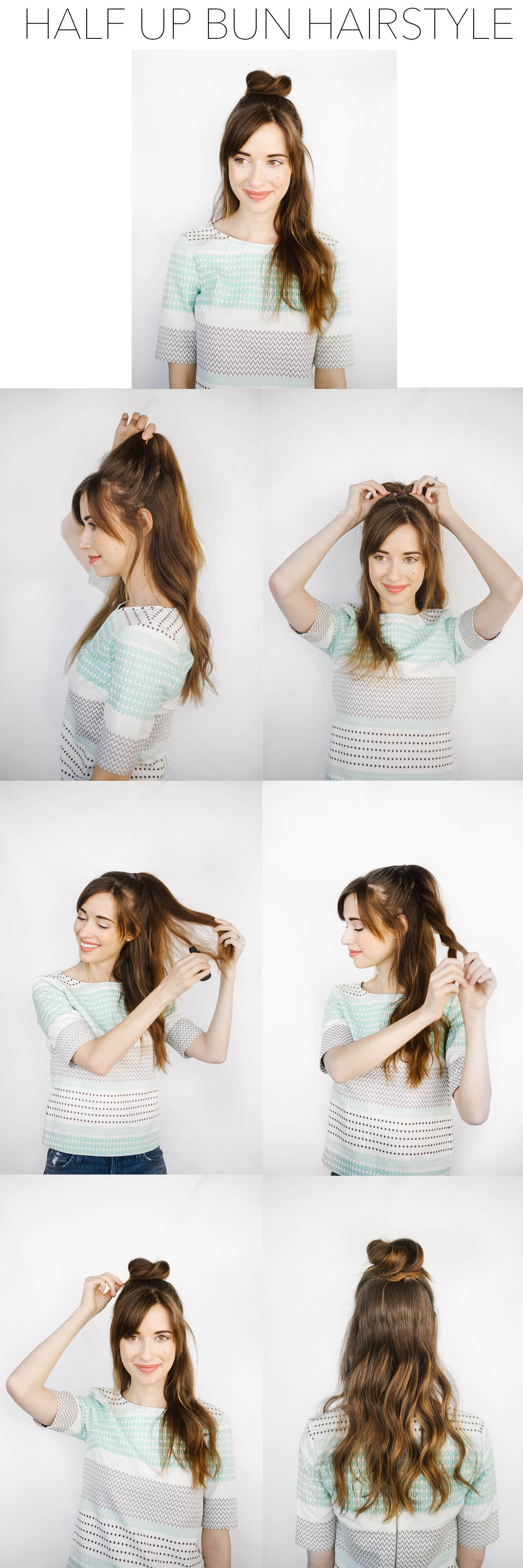 Half Up Bun Hairstyle Tutorial M Loves M