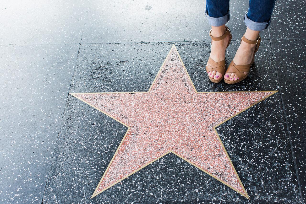 platform sandals on hollywood walk of fame