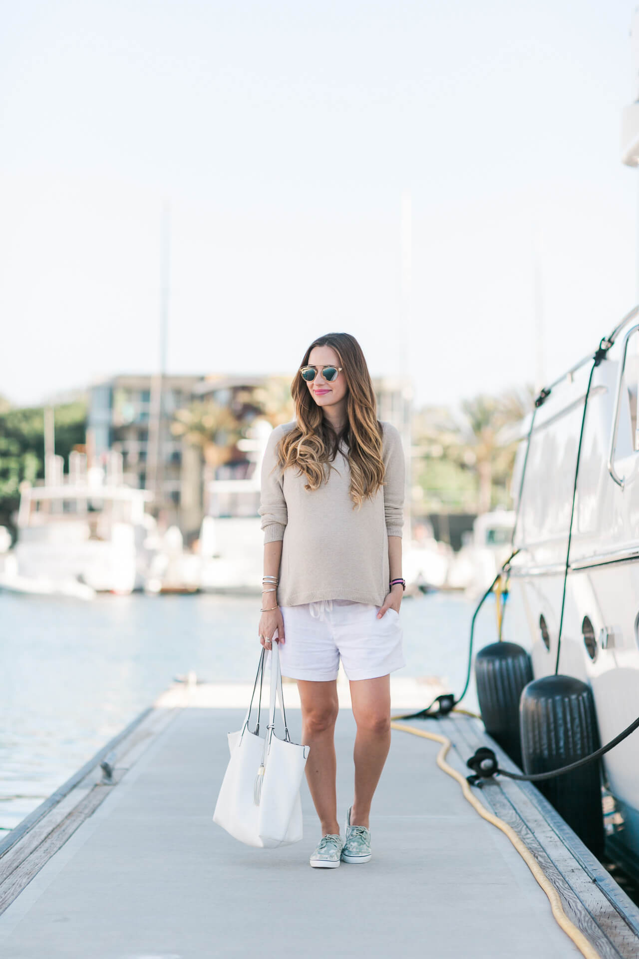 an afternoon in the marina wearing a madewell sweater and linen shorts