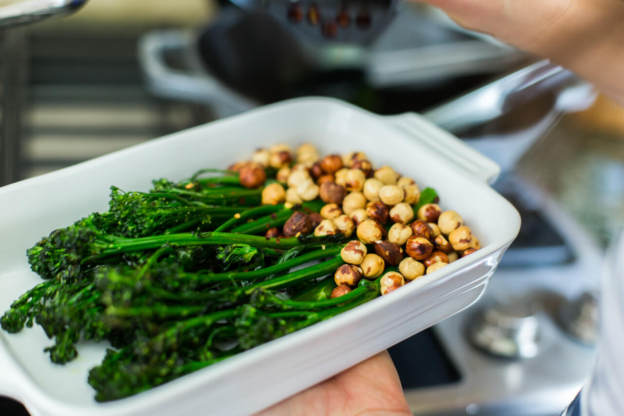 sauteed broccoli with toasted hazelnuts is a healthy and easy side dish