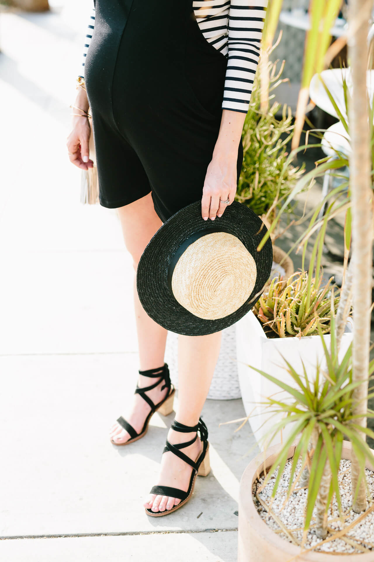 cute maternity outfit inspiration with black lace up sandals