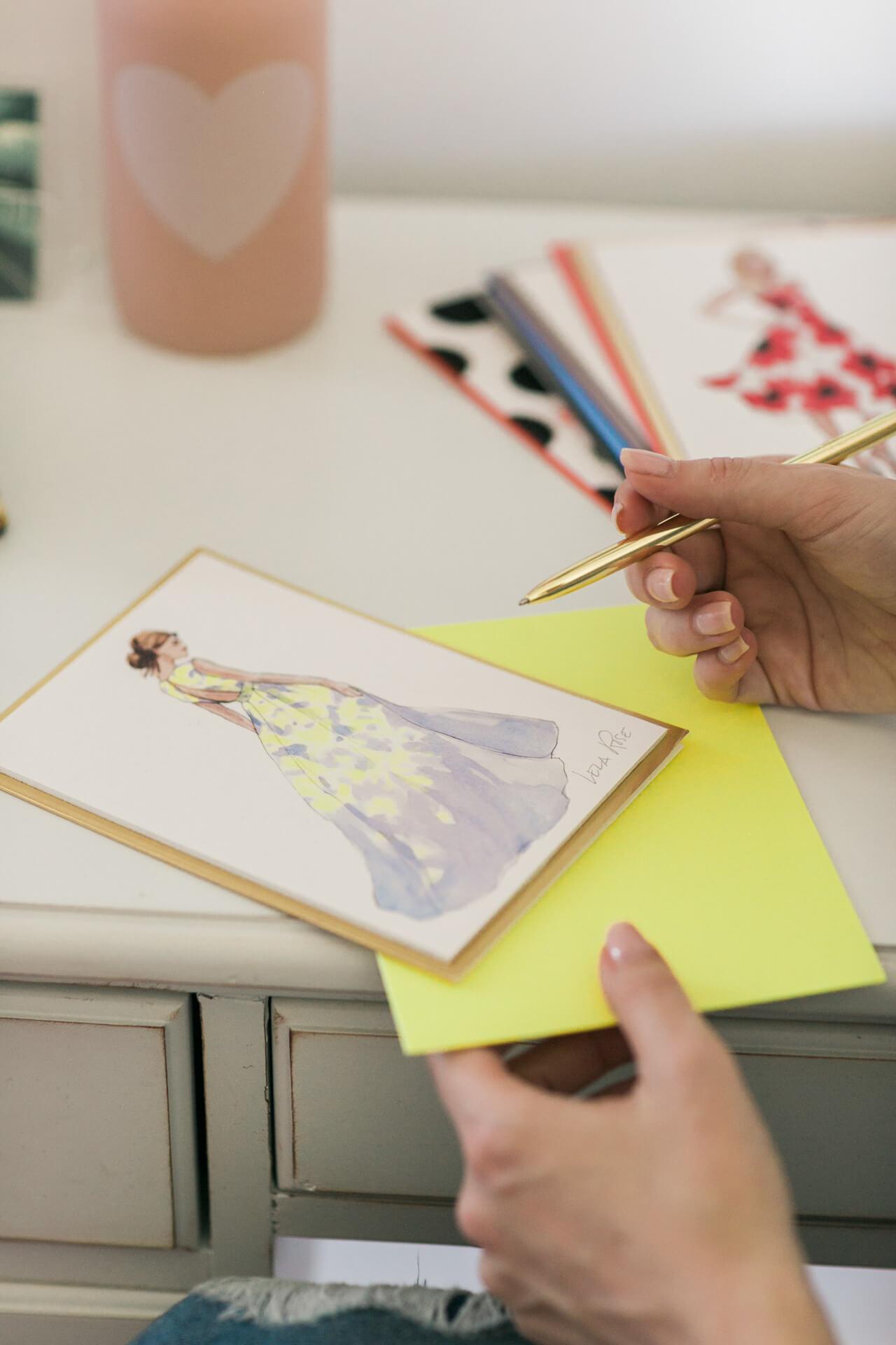 feminine card collaboration between lela rose and papyrus