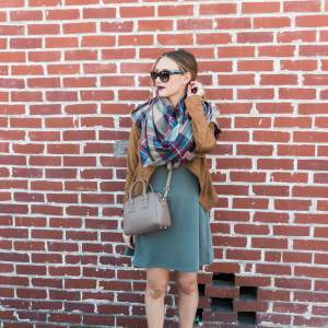 a fall outfit with a brown suede jacket and olive green dress