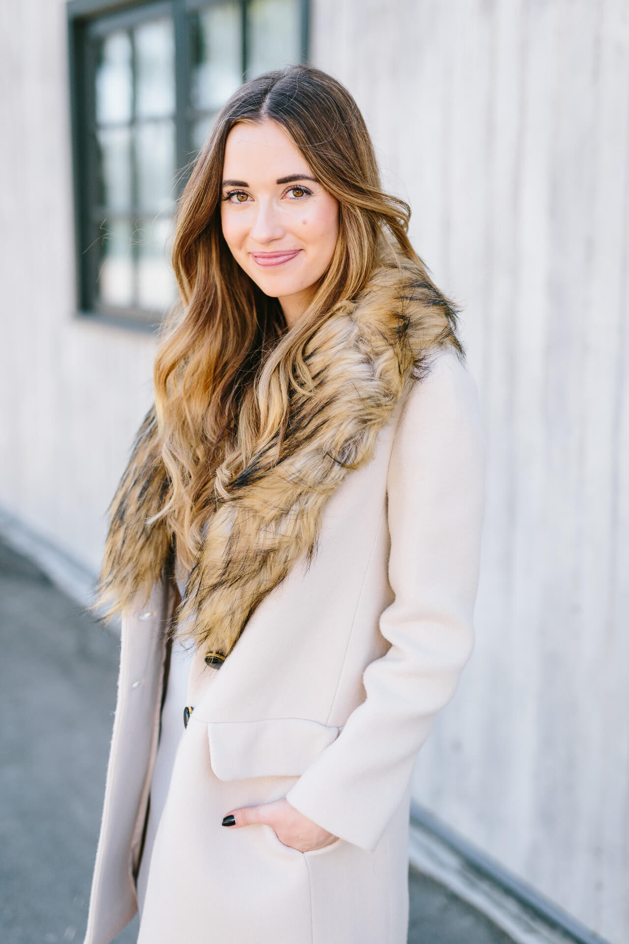 beige coat with faux fur collar