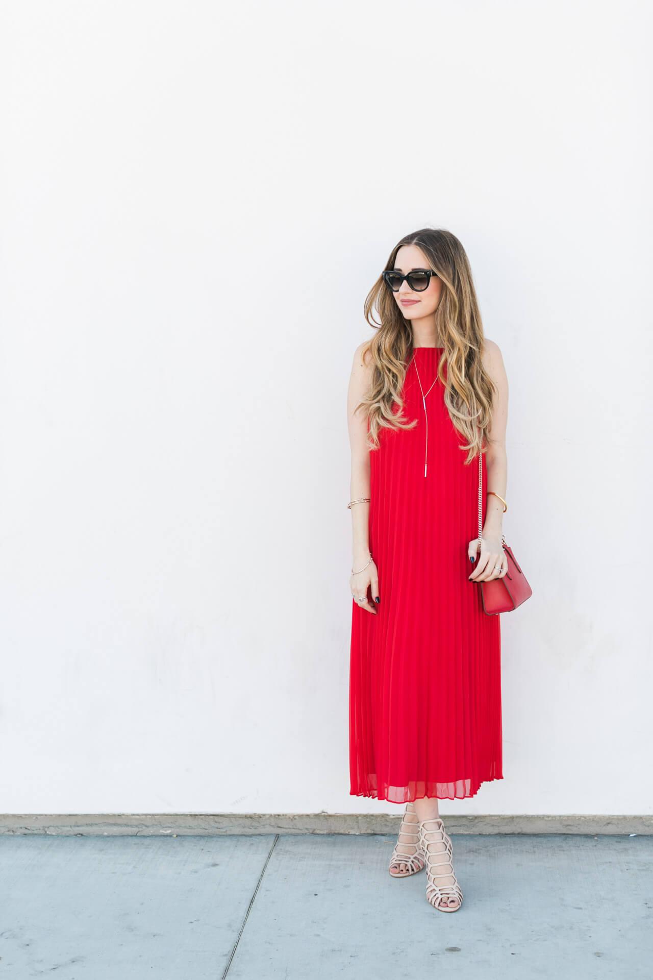 feminine red dress - M Loves M