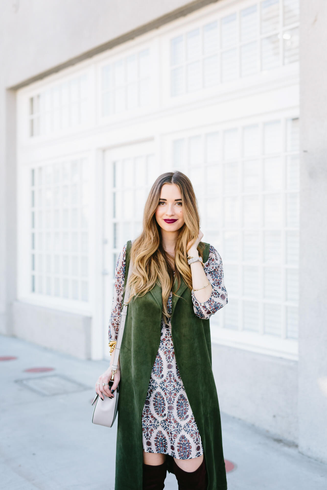 green suede trench with dress
