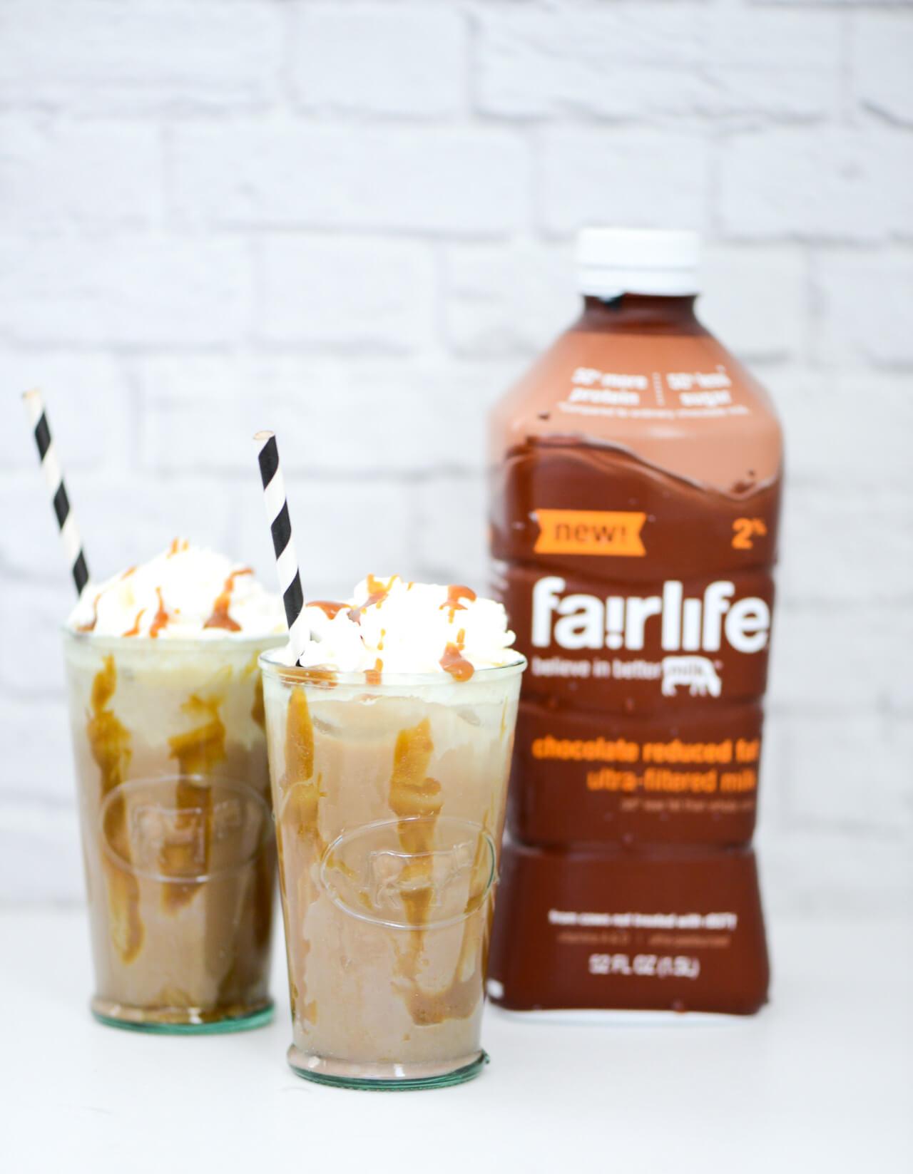 iced caramel coffee with chocolate milk