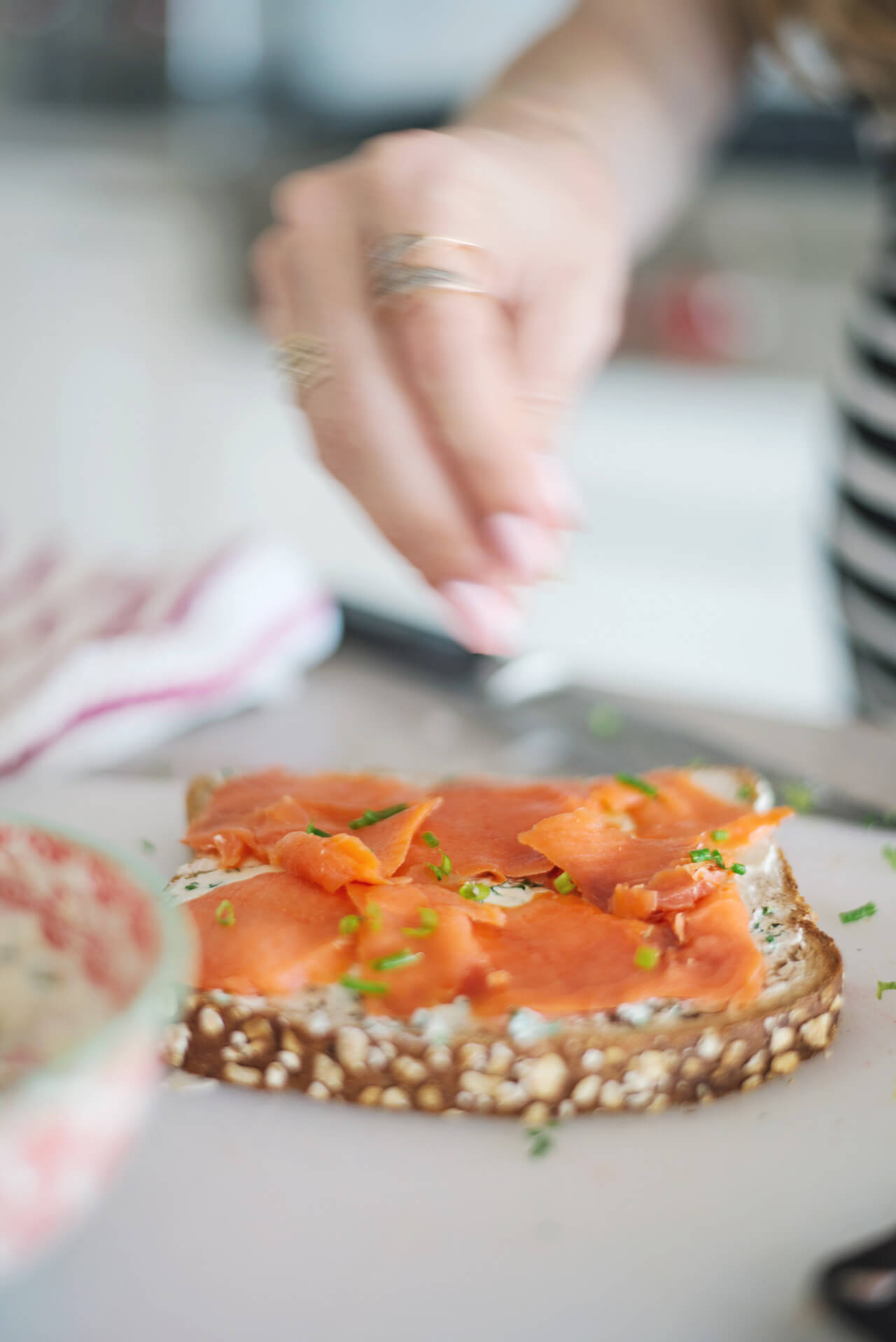 add chives to your lox and herbed cream cheese breakfast toast