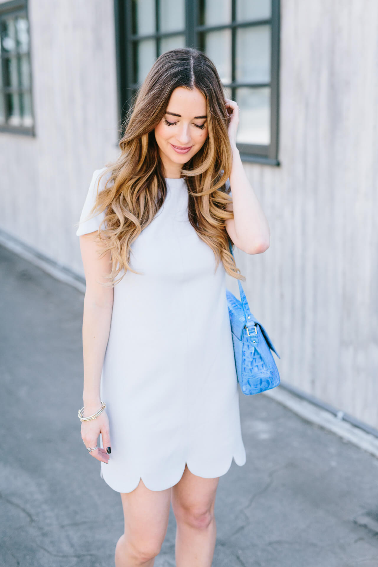 scalloped blue dress from shoshanna