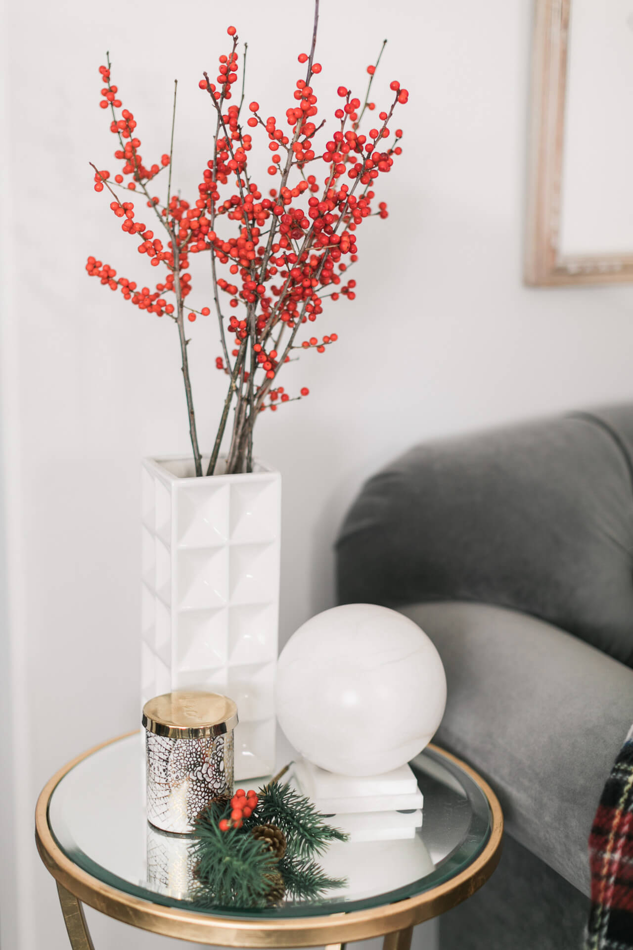 use berry branches as holiday decor