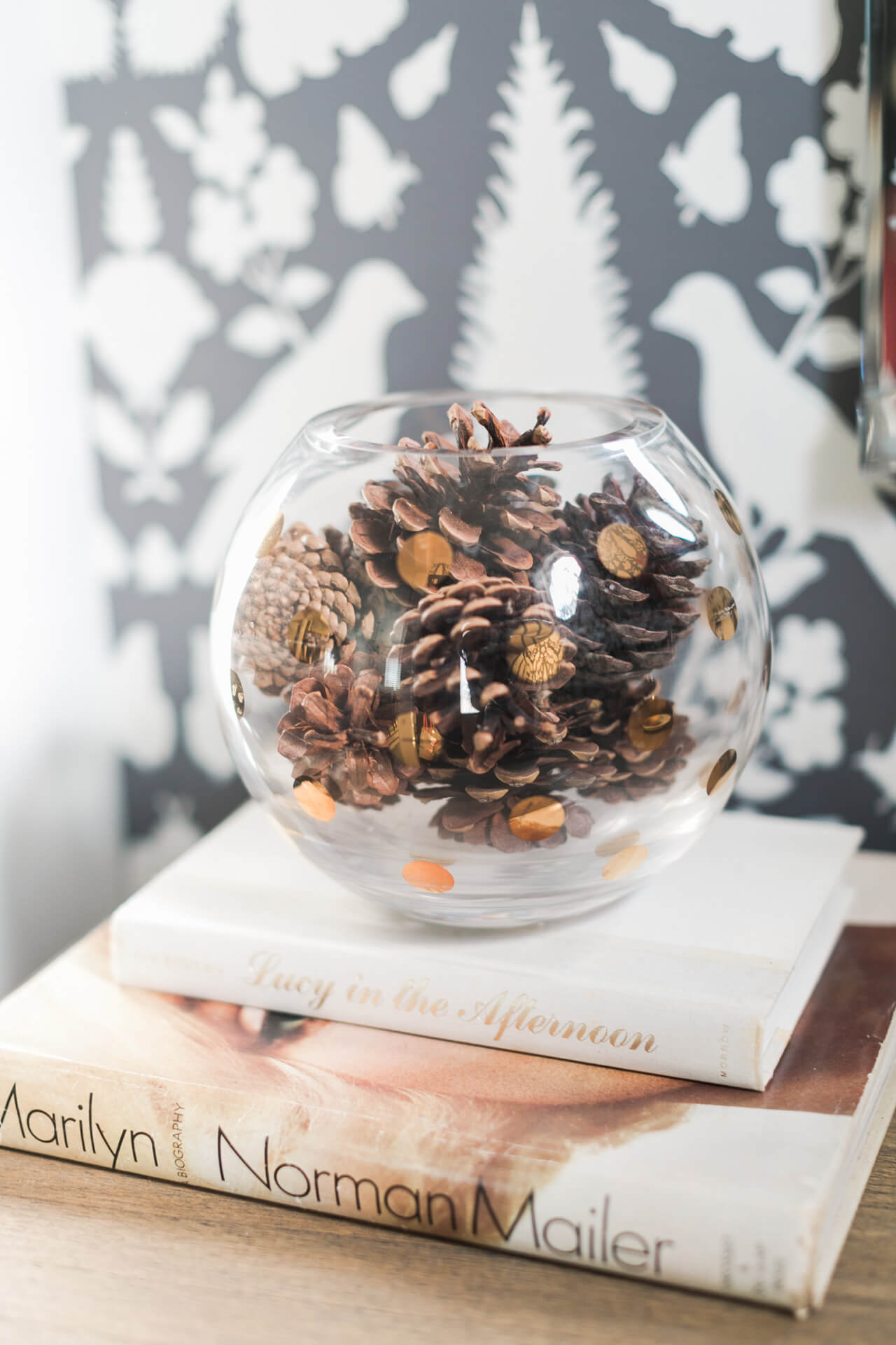 fill vases with pinecones