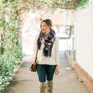 plaid scarf with white cable knit sweater