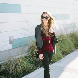 a holiday outfit with jeans