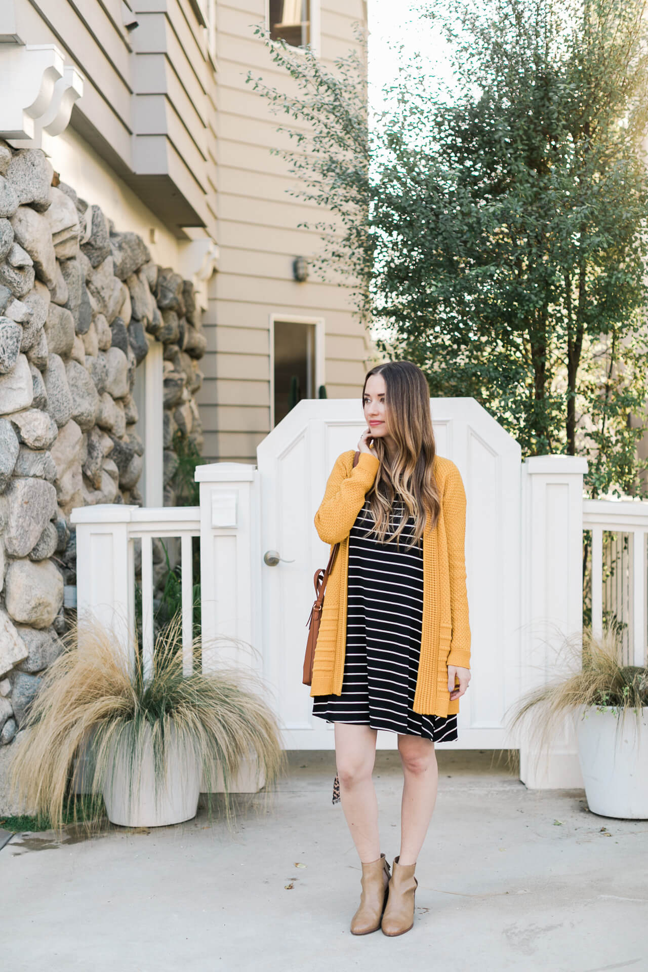 a casual striped dress outfit