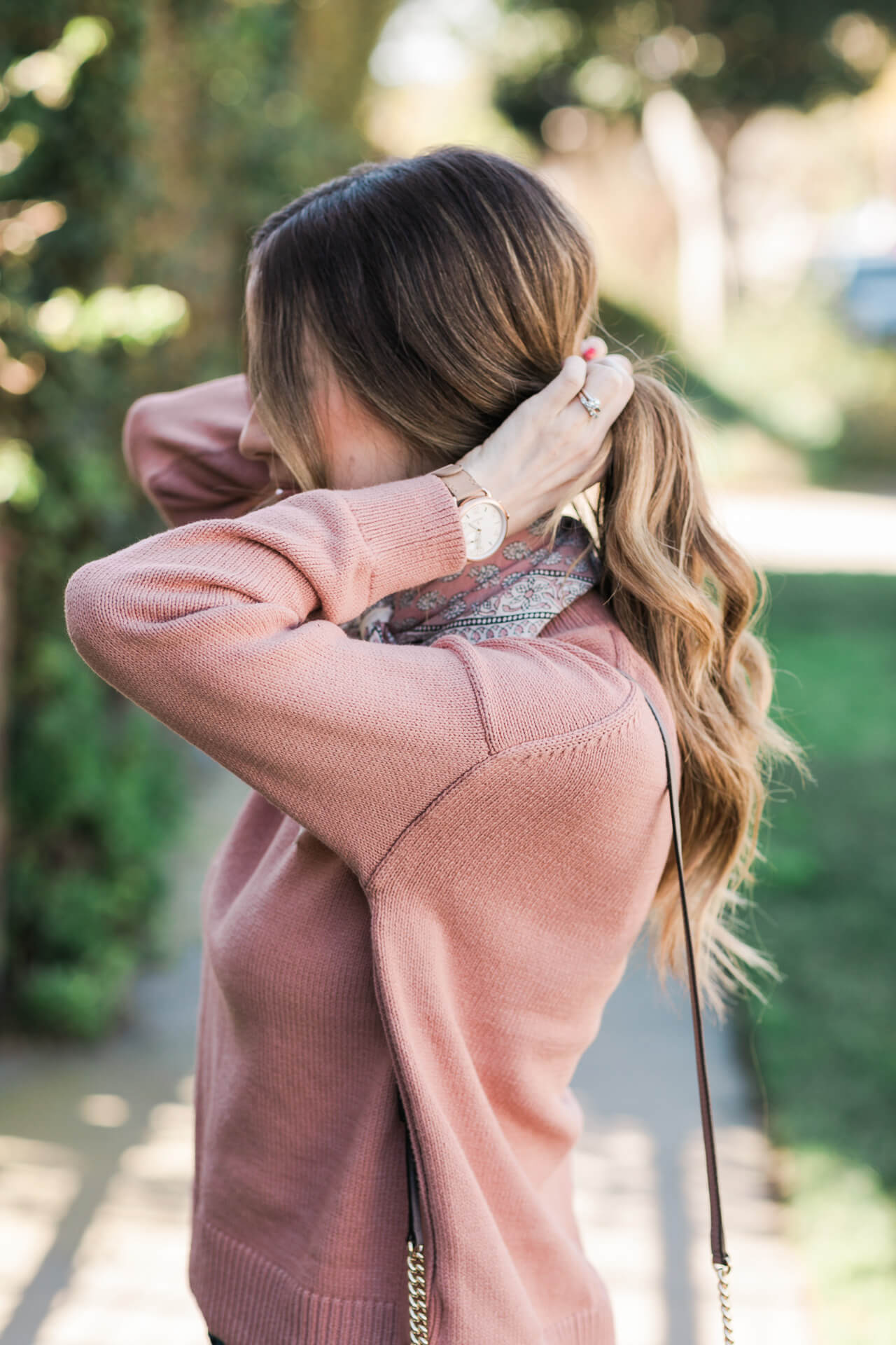 mauve sweater with buttons from madewell