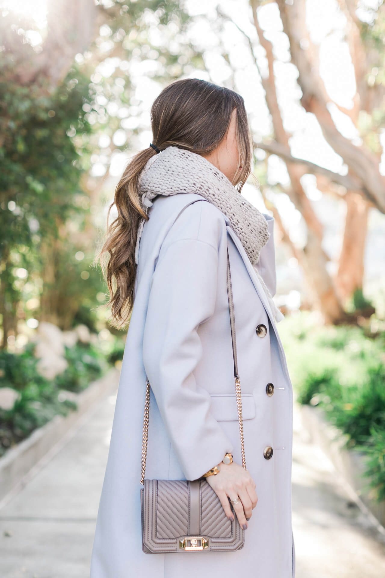 lavender long coat with rebecca minkoff quilted love bag