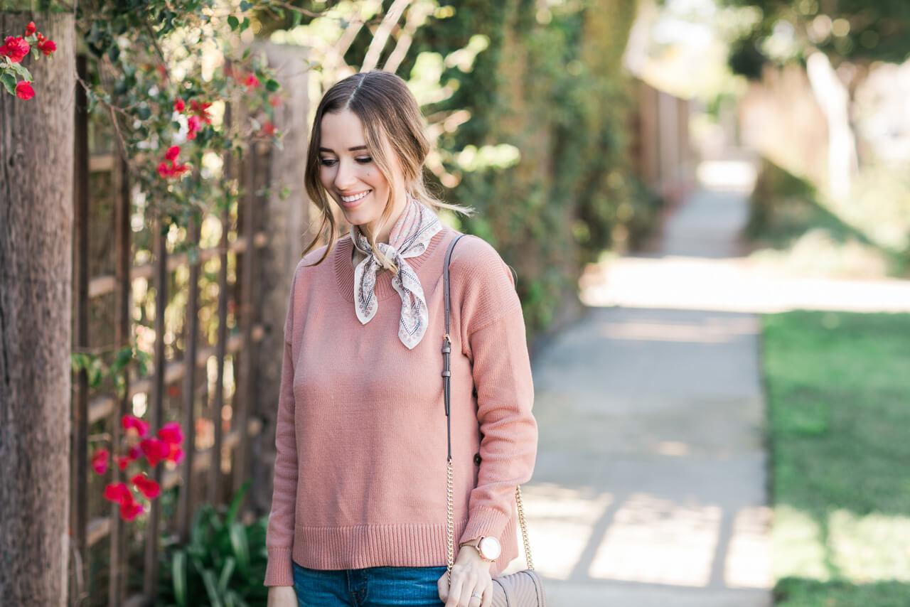 pink sweater with necktie scarf