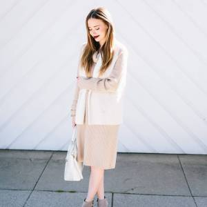 winter beige with a vampy lip - sweater dress with vest and ankle booties