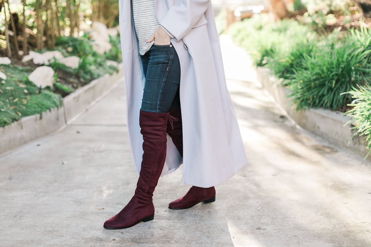 over the knee boots with long coat