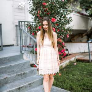 pretty pink lace dress and the best chanel dupe slingback heels