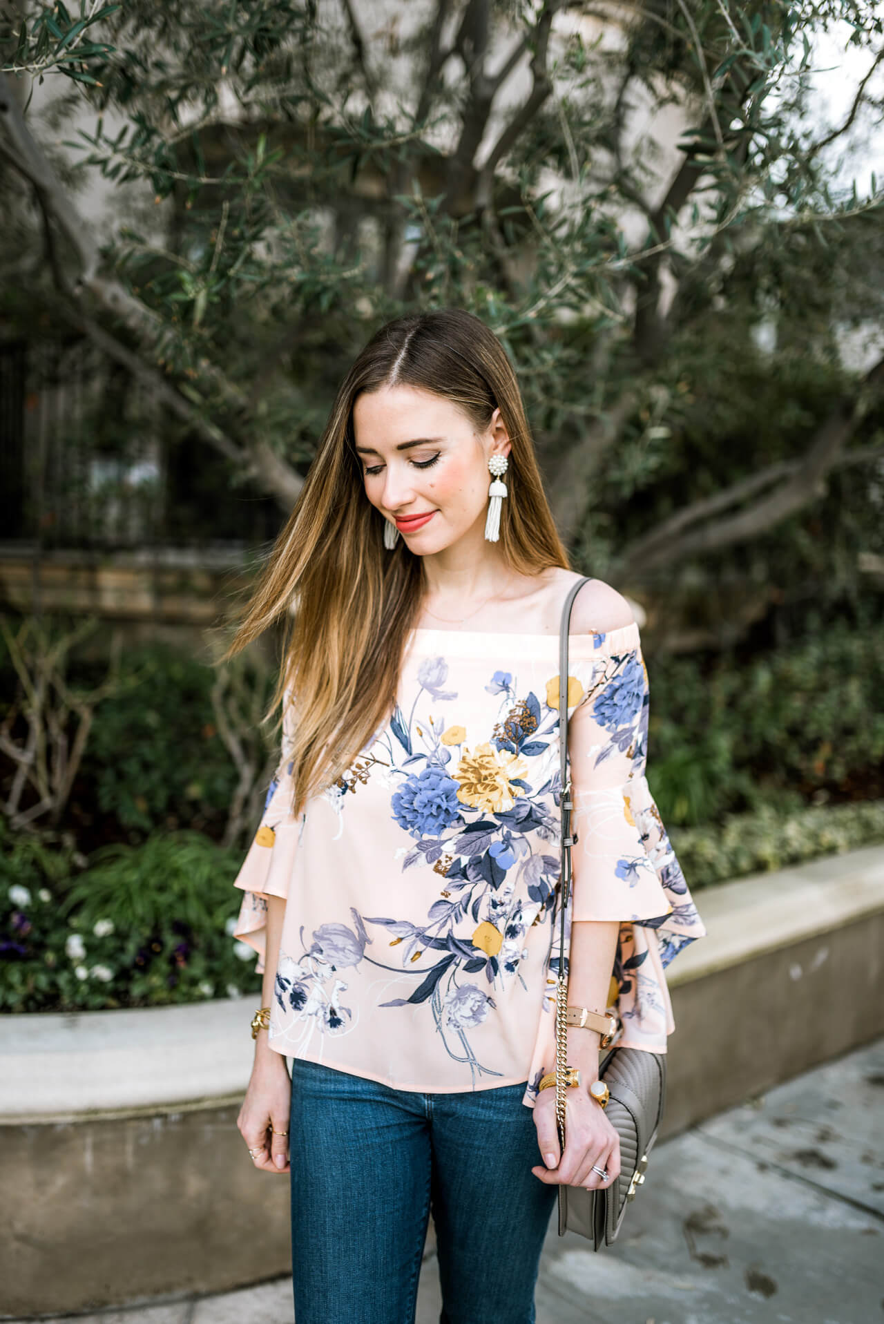 feminine ruffled bell sleeve floral top