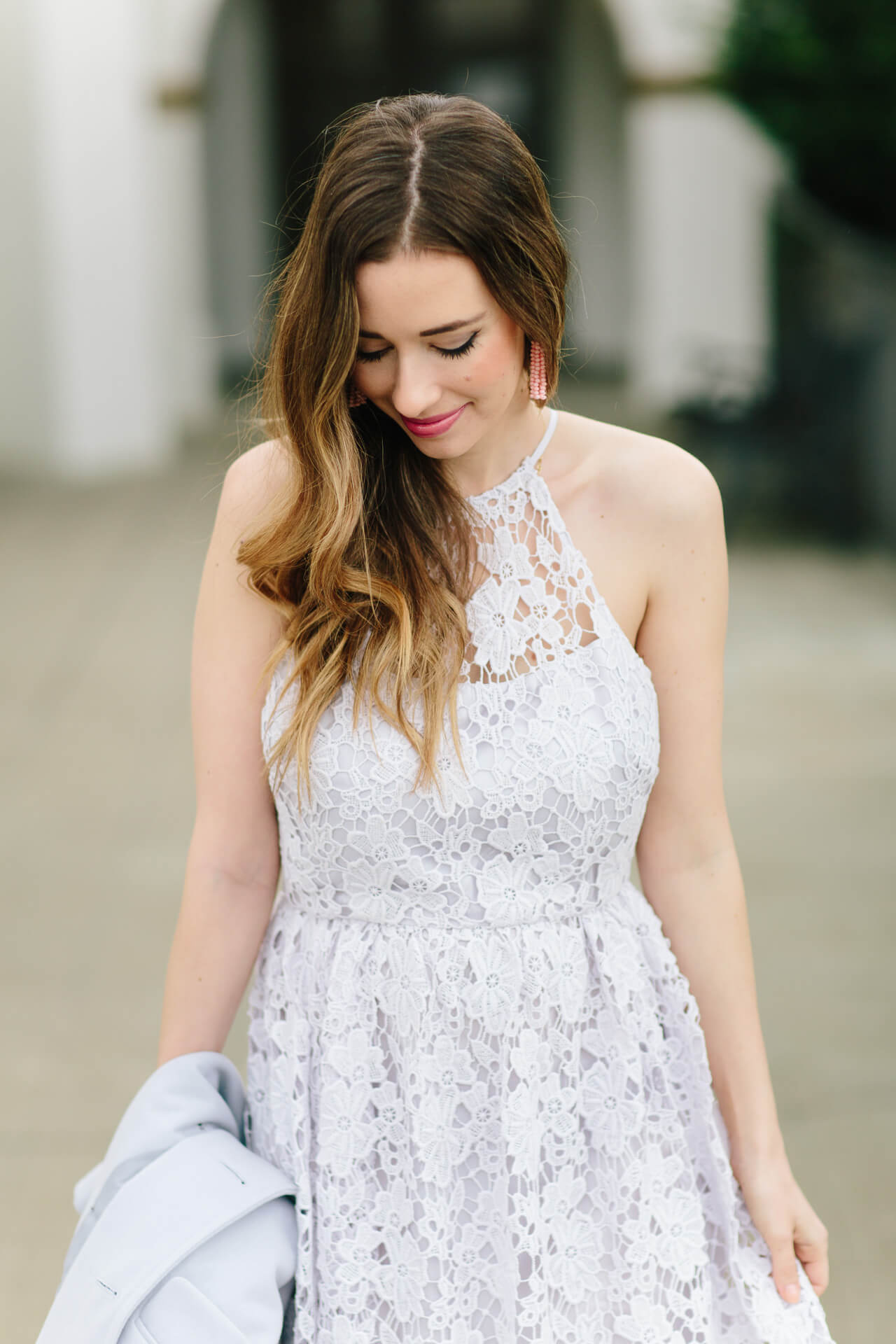 lavender lace halter dress with pearl tassel earrings